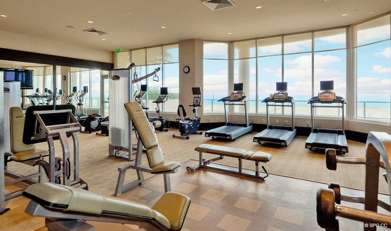 Ritz-Carlton Residences Fitness Center, Luxury Oceanfront Condominiums Located at 2700 N Ocean Dr, Palm Beach, FL 33404