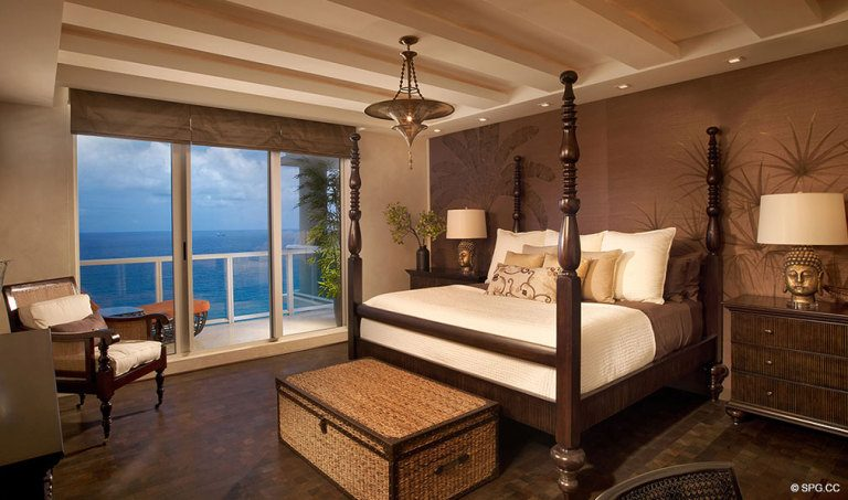 Ritz-Carlton Residences Bedroom, Luxury Oceanfront Condominiums Located at 2700 N Ocean Dr, Palm Beach, FL 33404