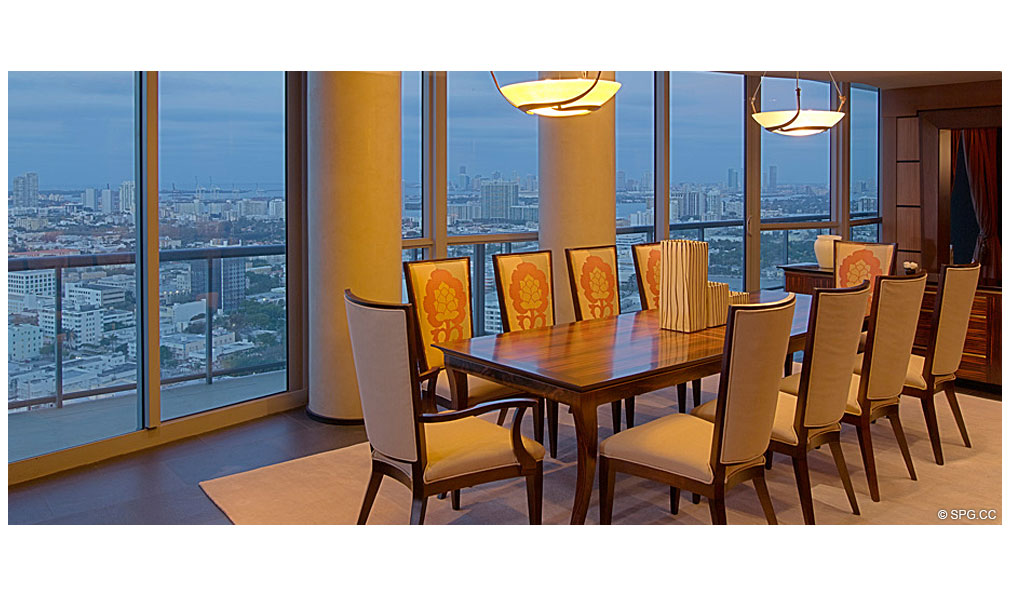 Setai Dining Room, Luxury Oceanfront Condominiums Located at 101 20th St, Miami Beach, FL 33139