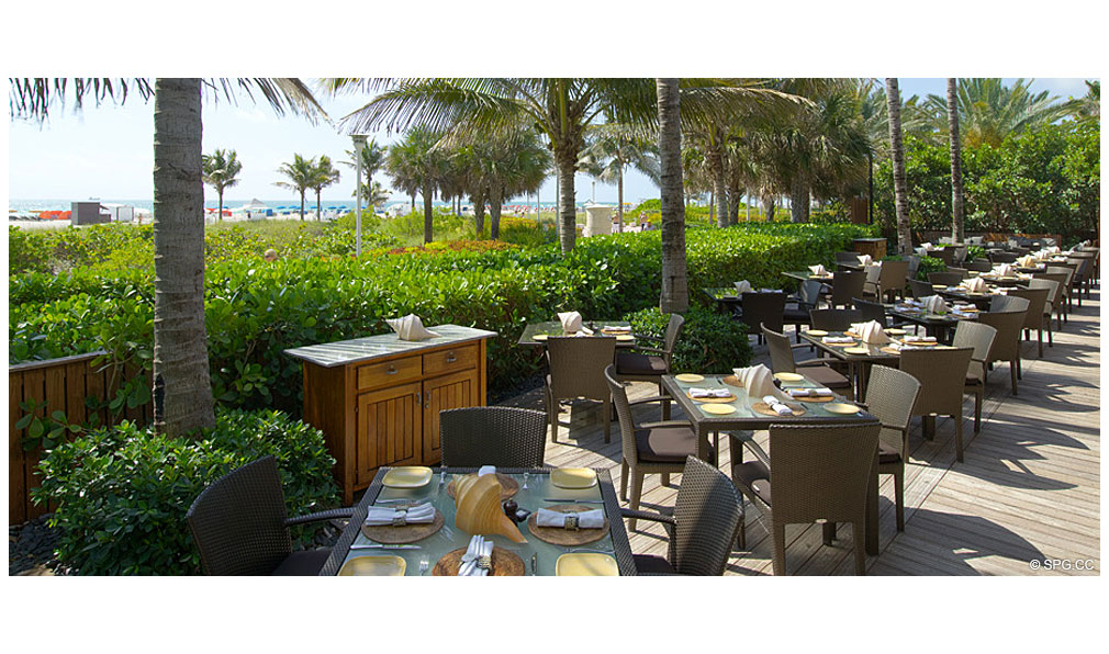 Outdoor Dining at Setai, Luxury Oceanfront Condominiums Located at 101 20th St, Miami Beach, FL 33139