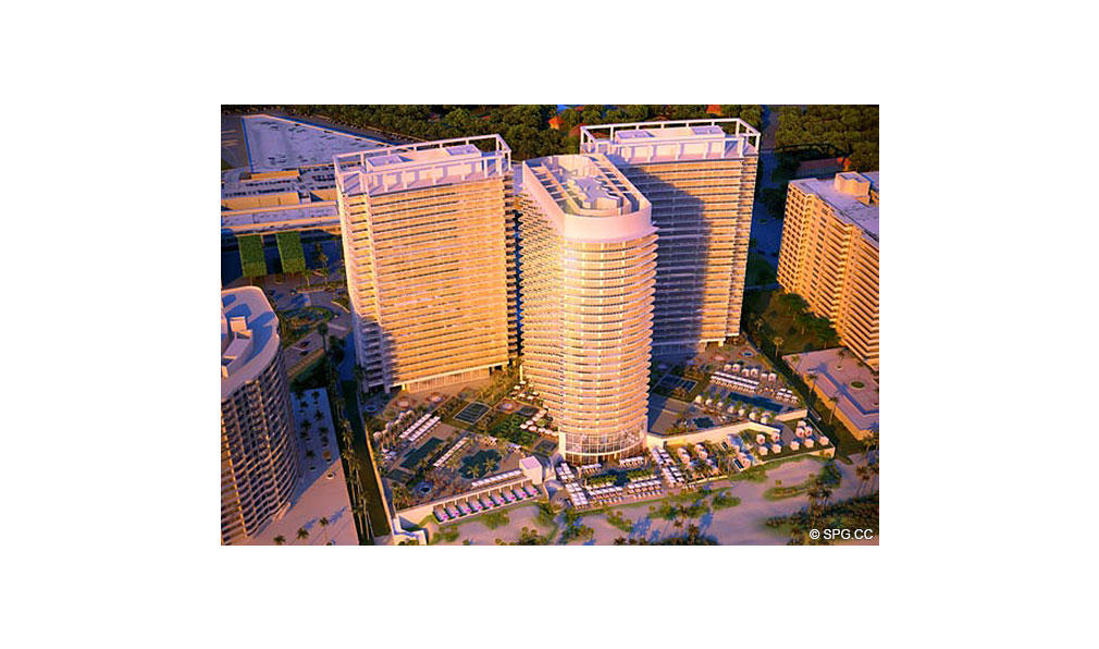 Aerial View of St. Regis Bal Harbour, Luxury Oceanfront Condominium, 9701 Collins Ave, Bal Harbour, FL 33154
