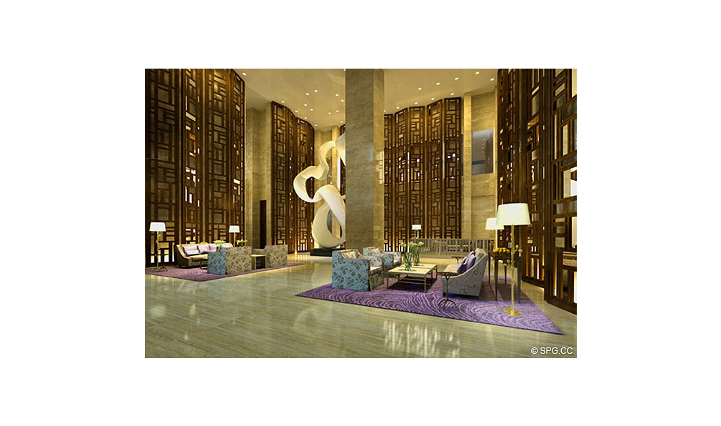 Main Lobby at St. Regis Bal Harbour, Luxury Oceanfront Condominium, 9701 Collins Ave, Bal Harbour, FL 33154