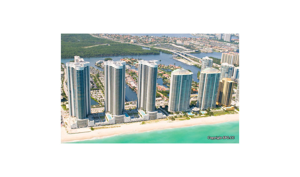 View of Trump Towers, Oceanfront Condominiums Located at 15811-16001 Collins Ave, Sunny Isles Beach, FL 33160