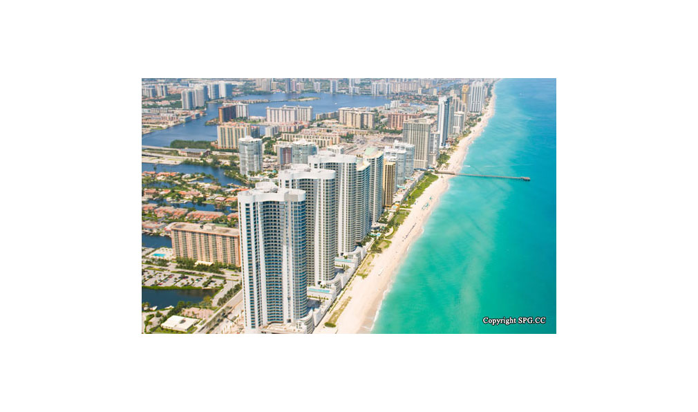 Aerial View of Trump Towers, Oceanfront Condominiums Located at 15811-16001 Collins Ave, Sunny Isles Beach, FL 33160