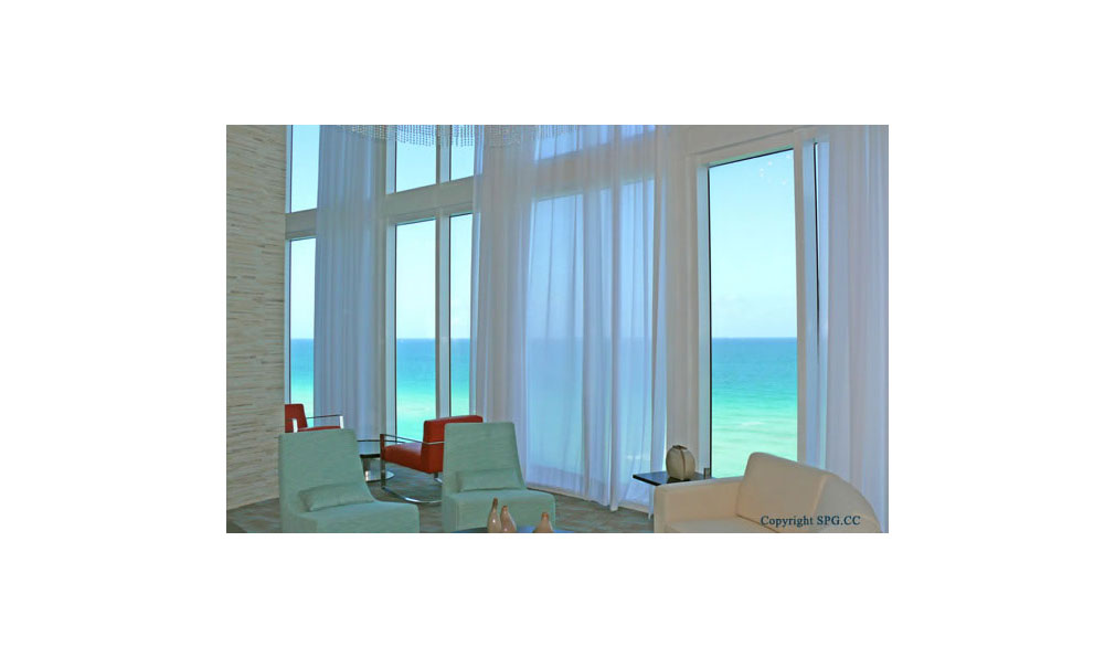 Lounge Views at Trump Towers, Oceanfront Condominiums Located at 15811-16001 Collins Ave, Sunny Isles Beach, FL 33160