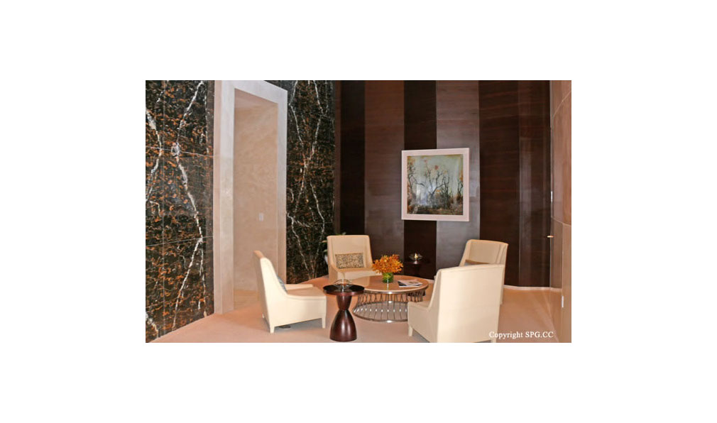 Trump Towers Elevator Lobby, Oceanfront Condominiums Located at 15811-16001 Collins Ave, Sunny Isles Beach, FL 33160